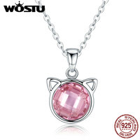 WOSTU Hot Luxury Authentic 925 Sterling Silver Cute Cat Pink CZ Pendant Necklaces For Girl Women