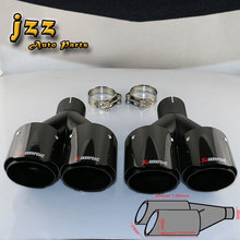 1 SET AKRAPOVIC EXHAUST TIP Car Carbon Fiber 2.5 Inch Inlet And 4 Inch Double Outlets Rainbow Akrapovic car Muffler Pipe