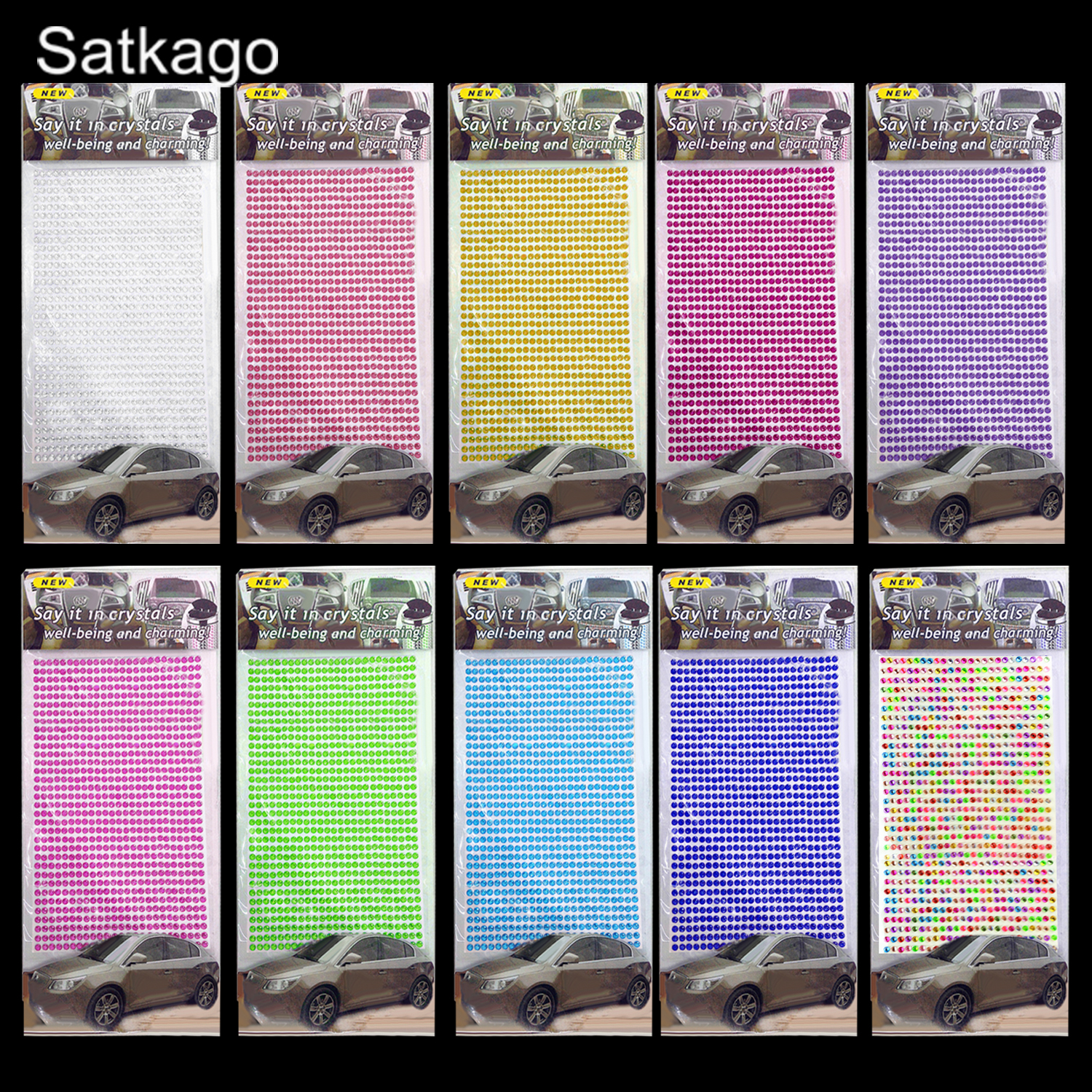 Satkago 10 Sheets Assorted Colors 3mm Bling Rhinestone Sticker Self-adhesive For Scrap Books Greeting Cards Mobile Phone