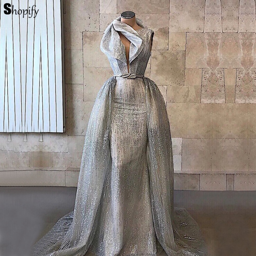 Long Glitter Women Evening Dress 2018 Mermaid Sleeve Arabic Style Dubai Silver  Formal Evening Gowns Party-in Evening Dresses from Weddings   Events on ... b8da3fe4d4ad