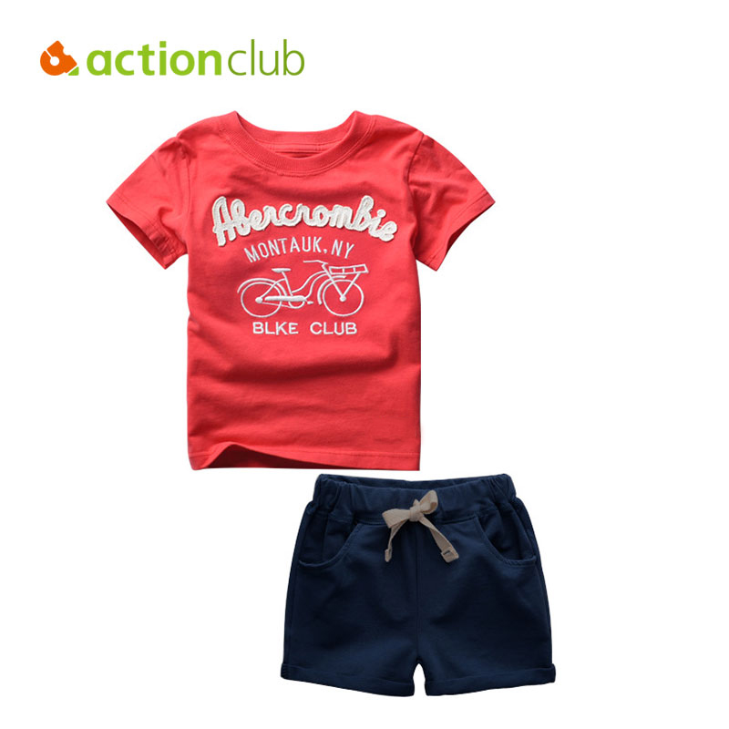 Actionclub Baby Boys Clothing Set Kids Summer Short Sleeve Cotton T-shirt and Pants Children Cartoon Letter Pattern Clothes Set european and american style brand children s clothing children summer cotton short sleeved t shirt baby girls t shirt 50158