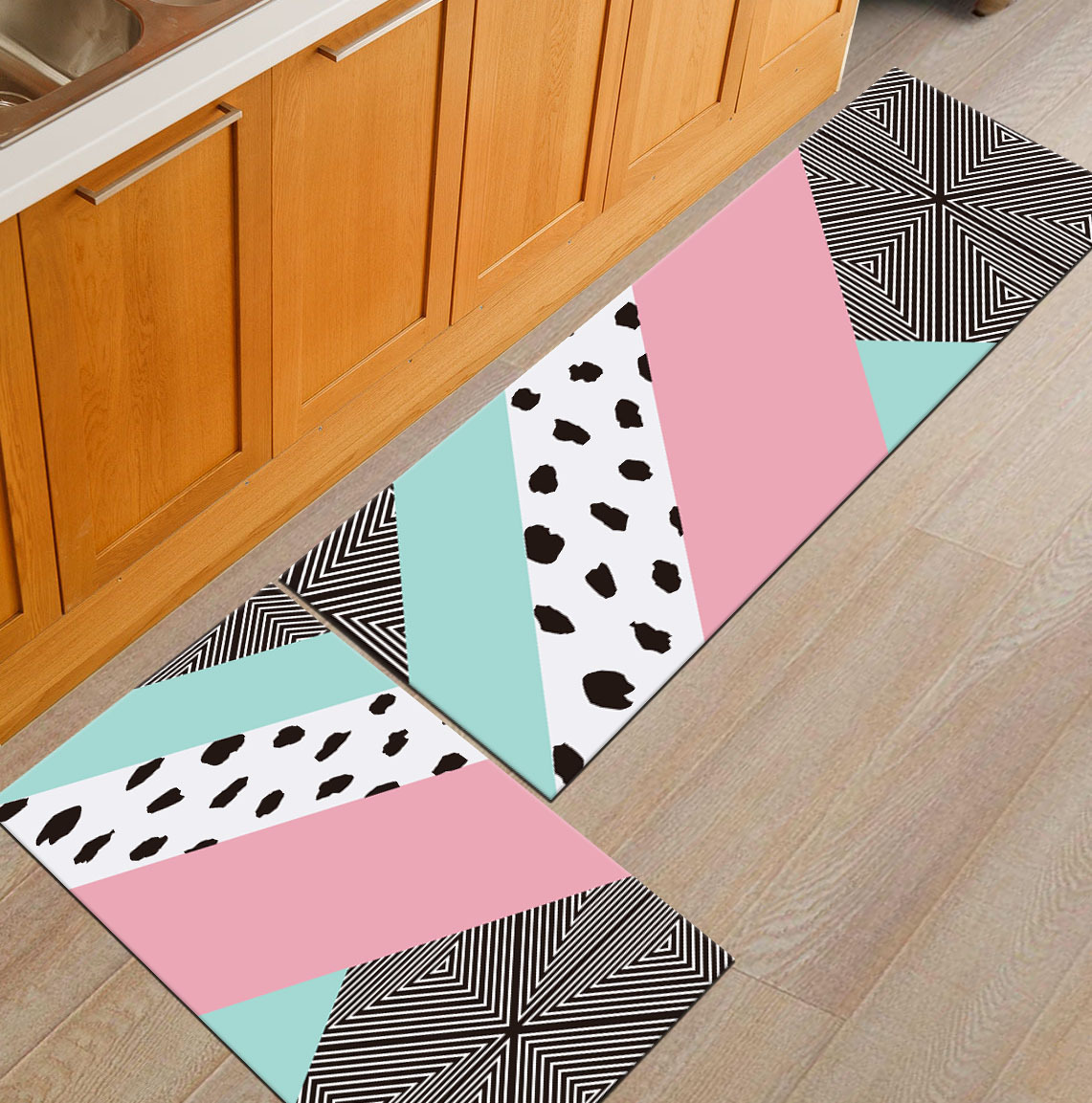 Современный геометрический Коврик для кухни, Противоскользящий коврик для ванной комнаты, домашний Коврик для прихожей/прихожей, коврик для шкафа/балкона, креативный ковер - Цвет: 1