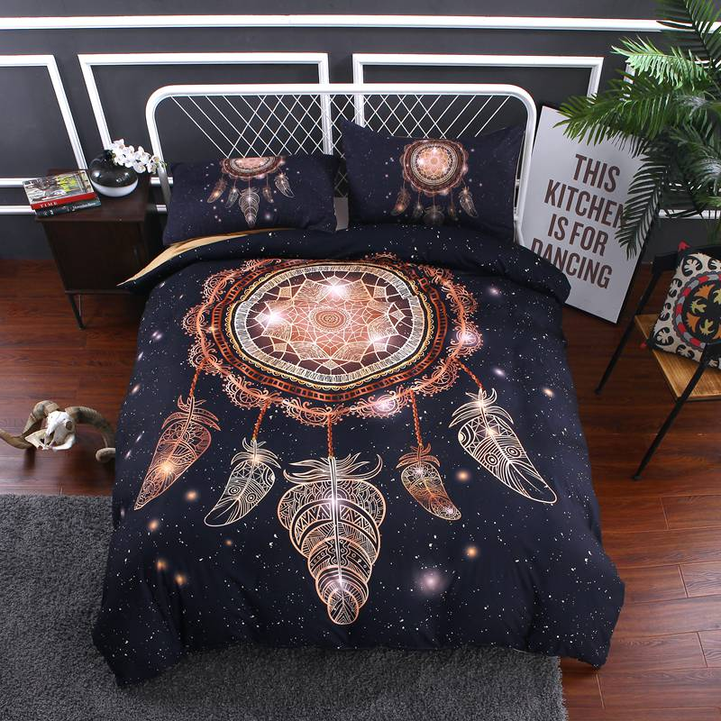 Bedding-Set Galaxy Bedding Gothic Bedding Space Theme Indian Bed Cover Mandala Bedding Geometric Cover Set With Pillowcases D