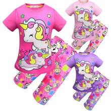 c4d317c0c7934e 2019 dzieci odzież ustawia jednorożec T-Shirt + Home spodenki 2 szt  garnitur dzieci dorywczo piżamy zestaw dziewczyny Princess .