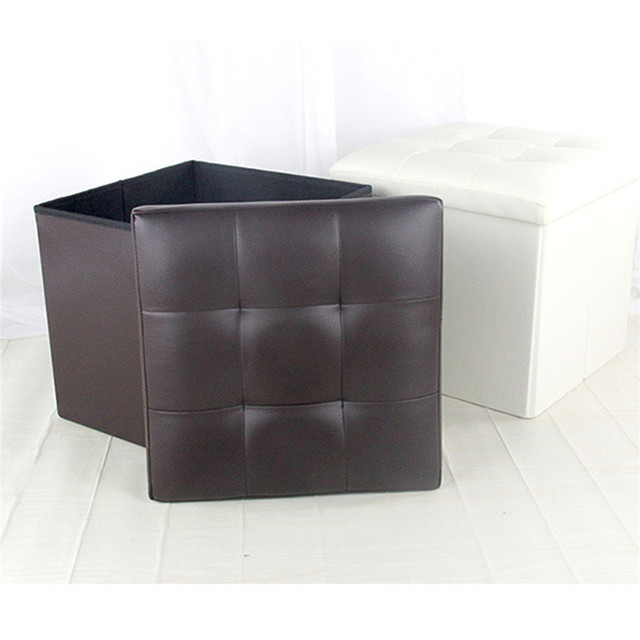 Vistoso Cubo De Cuero Blanco Muebles Otomana Bosquejo - Muebles Para ...