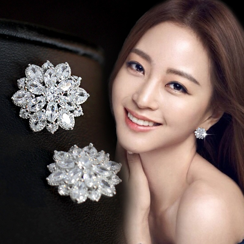 925 Sterling Silver Aaa Cubic Zirconia Flowers Stud Earrings For Women Luxury Bride Lady Fashion Jewelry