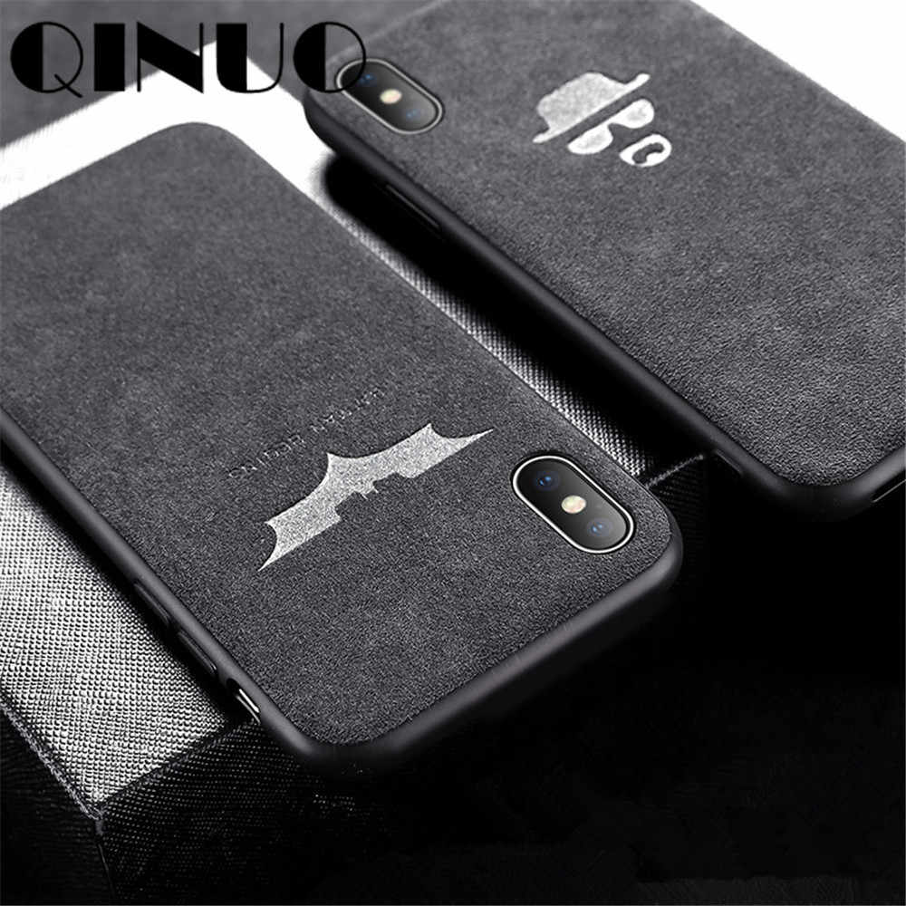 Чехол QINUO Magician Batman с логотипом Turn Fur для iPhone 11 Pro 2019 6 6S 7 8 Plus X XS Max XR Suede Telefon Kilifi Cool Cover Coque