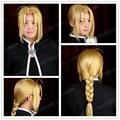 2015 Fashion Cheap Full Lace Wigs Fullmetal Alchemist Edward Elric Cosplay Wig Blonde Golden Synthetic Hair + Free Wig Cap