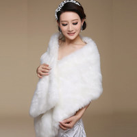 5015 New Elegant Long Hair Faux Fur Wedding Shawl Stoles Wraps Cape For Women Beige Free