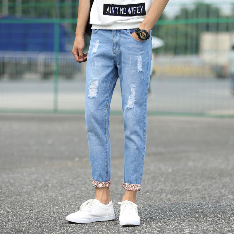 American Style 2016 Fashion Brand Blue Men jeans luxury Men's Casual Denim Trousers Hole Slim Straight Jeans For Men 01Y931