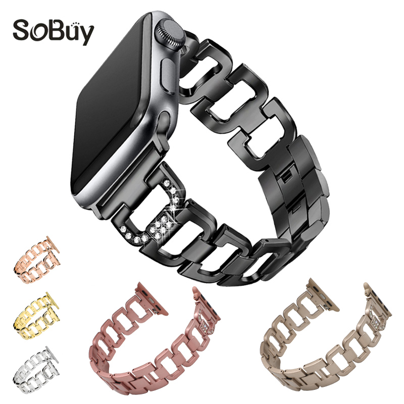 So buy Inlaid diamond alloy stainless steel watchband for apple watch band 42 38mm wirst strap iwatch 1/2/3 metal Link bracelet
