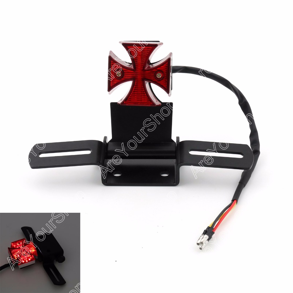 For Motorcycle Harley Chopper Bike Cross Rear Tail Brake License Plate Led Light Accessories