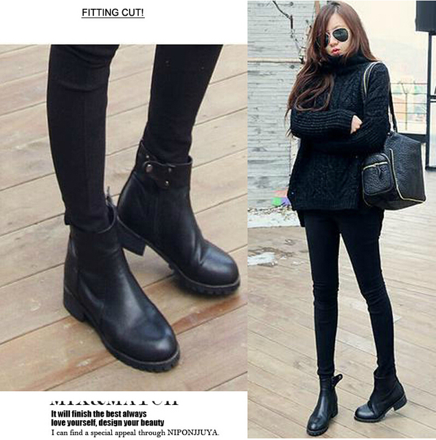 aeb04c8fa274 New 2015 Fashion Winter Sapatos Femininos Flat Shoes Waterproof Ankle Boots  Women Casual PU Leather Boots Zapatos Mujer