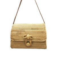 Retro Bowknot Rattan Woven Bag Fashion Rectangle Beach Bag Dual Purpose Travel Sling Bag Crossbody Bags For Ladies Brand New