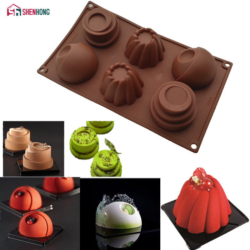 SHENHONG Three in One 3D Mould Non-stick Silicone Cake Mold Art Mousse Moule Silikonowe Chocolates Muffin Brownie Baking Pastry