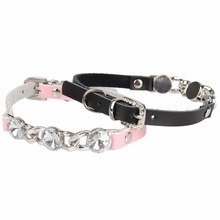 PipiFren Cats Collars Dogs Rhinestone Genuine leather Accessories For Pet Necklace Cat-Collar collier chat animaux kat halsband