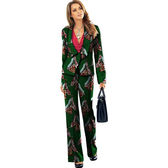 Moda africano mulheres blazers de impressão + calças definir elegante curto blazer e calças Retas dashiki terno ocasional roupas áfrica