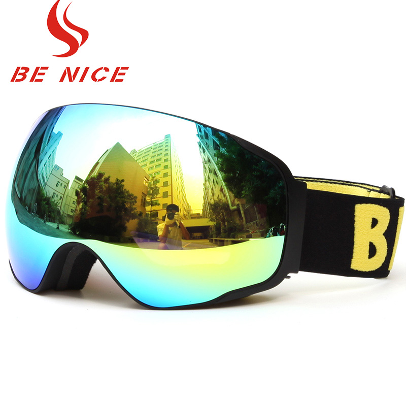 In 2018, new super - vision ski goggles, anti - uv anti - fogging, electroplated lens breathable frame,Snow goggles for skiing