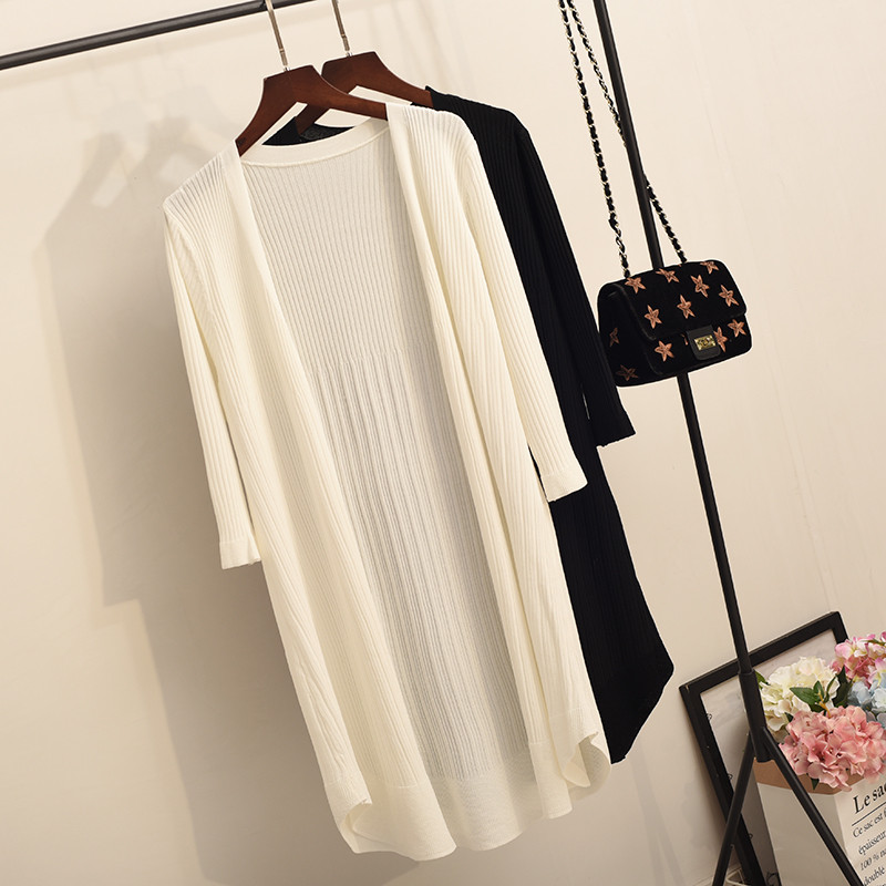 Artificial Ice Silk Long Cardigan Jacket Women Summer Thin Knitted Sweater Jumper Women Sueter Mujer White Cardigans Coat C4551