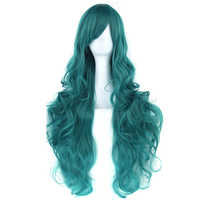 Soowee 20colors 80cm Long Curly Hair Green Cosplay Wigs Heat Resistant Synthetic Hair Accessories Party Black Wig for Women