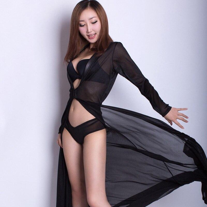 Women Sexy Long Dressing Night Gown Sheer Transparent Dress Nightgown Nightie Sleepwear Lingerie Net yarn underwear ...