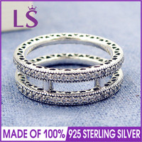 LS Hot Sale High Quality 100 Real 925 Sterling Silver Double Hearts Clear CZ Ring For