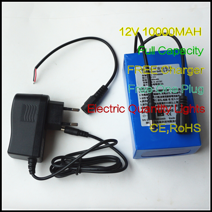 Free Charger for <font><b>12V</b></font> 10000MAH Lithium ion Rechargeable Power Source <font><b>3AH</b></font> Li-ion <font><b>Batteries</b></font> image