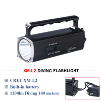 100M Diving Work light High power torch lamp CREE XM L2 rechargeable portable led flashlight lamp diving Torch hand lamp light