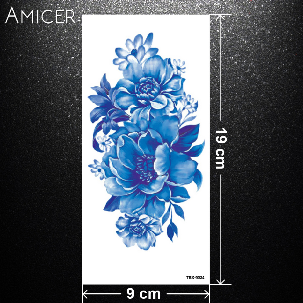 blue rose flowers tattoo arm shoulder leg tattoo waterproof women 1