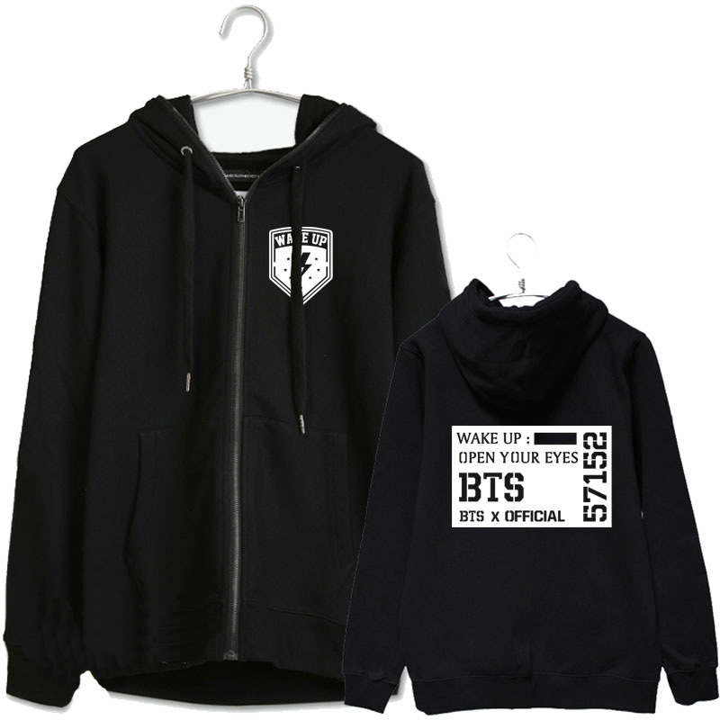 Kpop bts bangtan boys concert wake up suga same hoodie jacket for men women zipper outwear plus size black chaquetas
