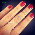 5 Pcs Ring Set !  2016 New Simple Geometric Cross Ring Plain X Rings For Women Charming Party Silver Ring Femme Bijoux Bague