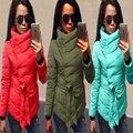 Plus Size 3XL 2016 Casacos de Inverno Mulheres Vermelho Irregular Algodão-Acolchoado do Revestimento do Revestimento Quente Casacos Botão Fino Engrossar Outerwear amassado