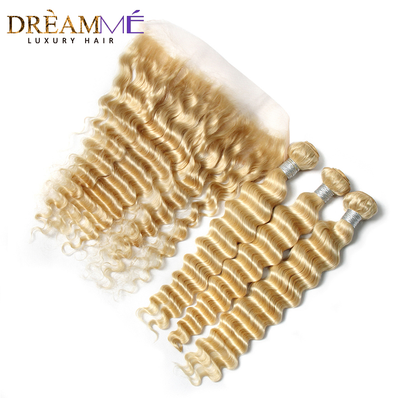 613 Deep Wave 3 4 Bundles With 13x4 Lace Frontal Brazilian Human Remy Hair 613 Blonde