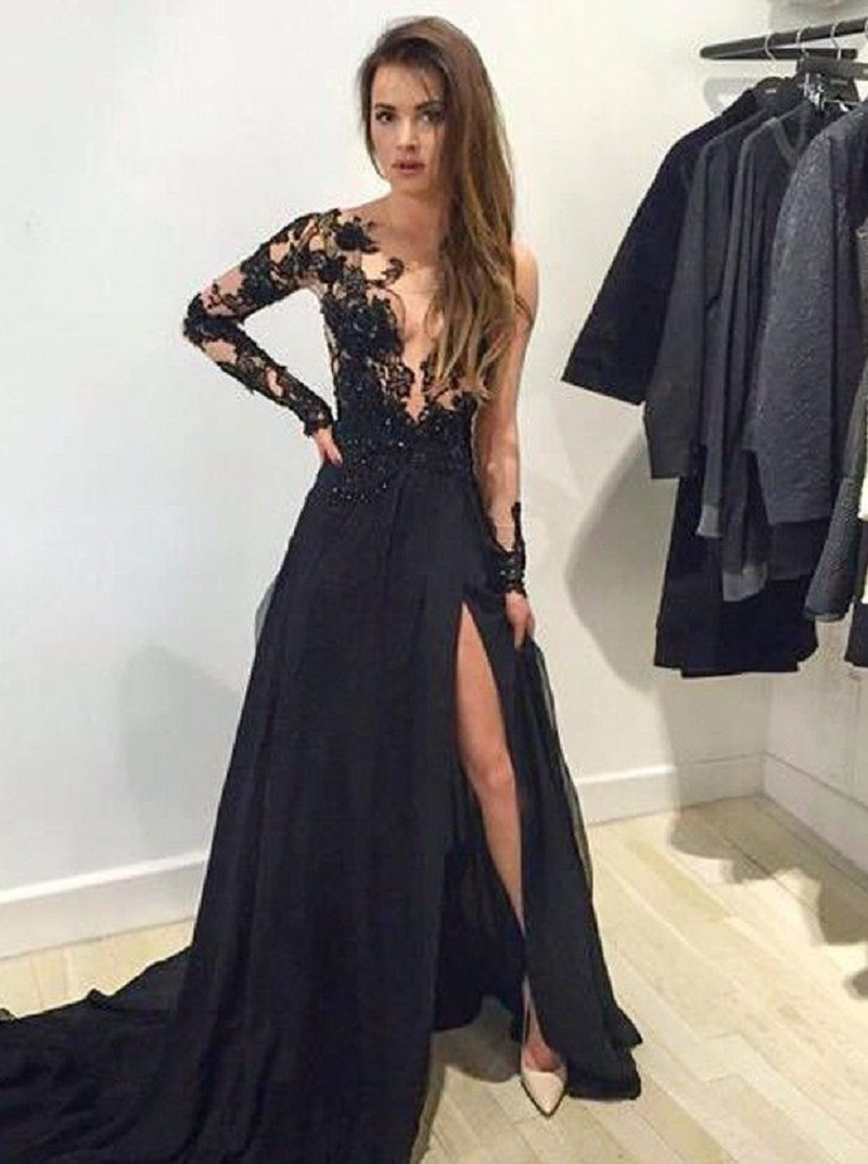 Black dress for prom night - Sexy Long Prom Dress With Long Sleeves Sheer Side Slit Prom Night Dresses 2016 New Arrival Custom Made Black Lace Evening Gowns
