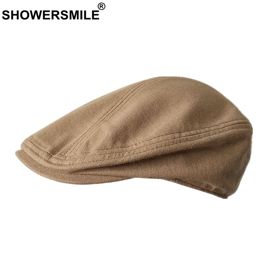 SHOWERSMILE Beret Hat Women Linen Plain Duckbill Flat Caps Men Camel Classic Gatsby Ivy Cap Unisex Solid Summer Retro Cabbie Cap(China)