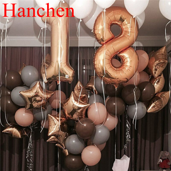 48pcs American Rose Gold Number helium Balloon star foil ballon 2.2g brown latex 18 year old birthday Party Decorations globos