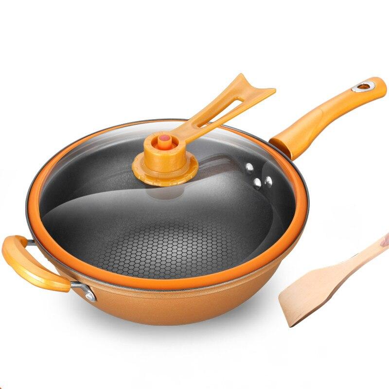 32 cm Fer Poêle Chaleur préserver Vide Pot Bouillante Cessez-le-feu Health Preservation Casserole Cuisson Poêle Wok Avec Verticale Couvercle