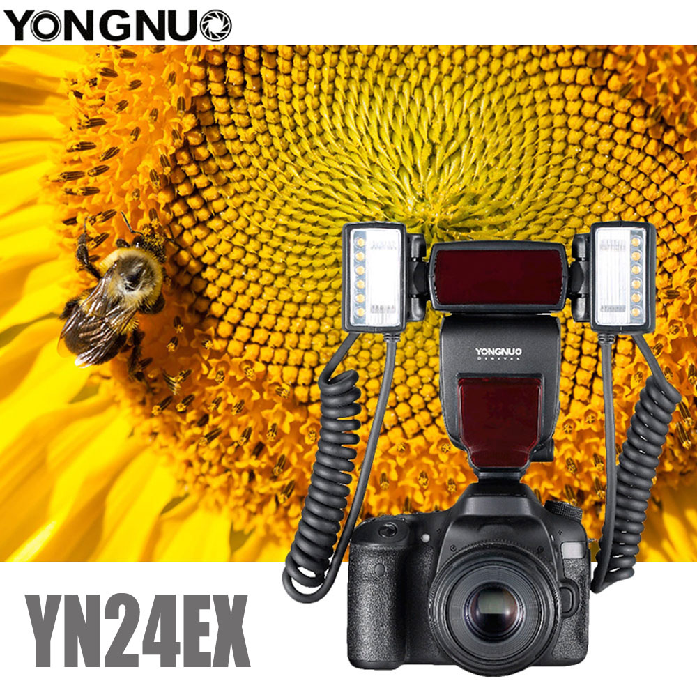 Yongnuo YN24EX E TTL Macro Flash Speedlite for Canon EOS 1Dx 5D3 6D 7D 70D 80D Cameras with 2pcs Flash Head + 4pcs Adapter Rings
