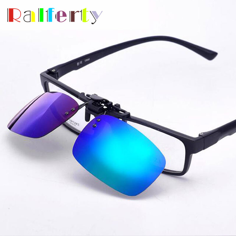 0bcc578211f43 Ralferty Espelhado Polarizada Clip Sobre Óculos De Sol Dos Homens Virar  Para Cima Lente Miopia Lente Polaroid Óculos Óculos de Condução Com Caixa  de ...