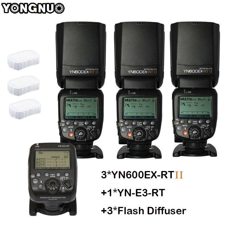 3pcs YONGNUO Flash Speedlite YN600EX RT II Auto TTL HSS Transmitter Controller YN E3 RT for