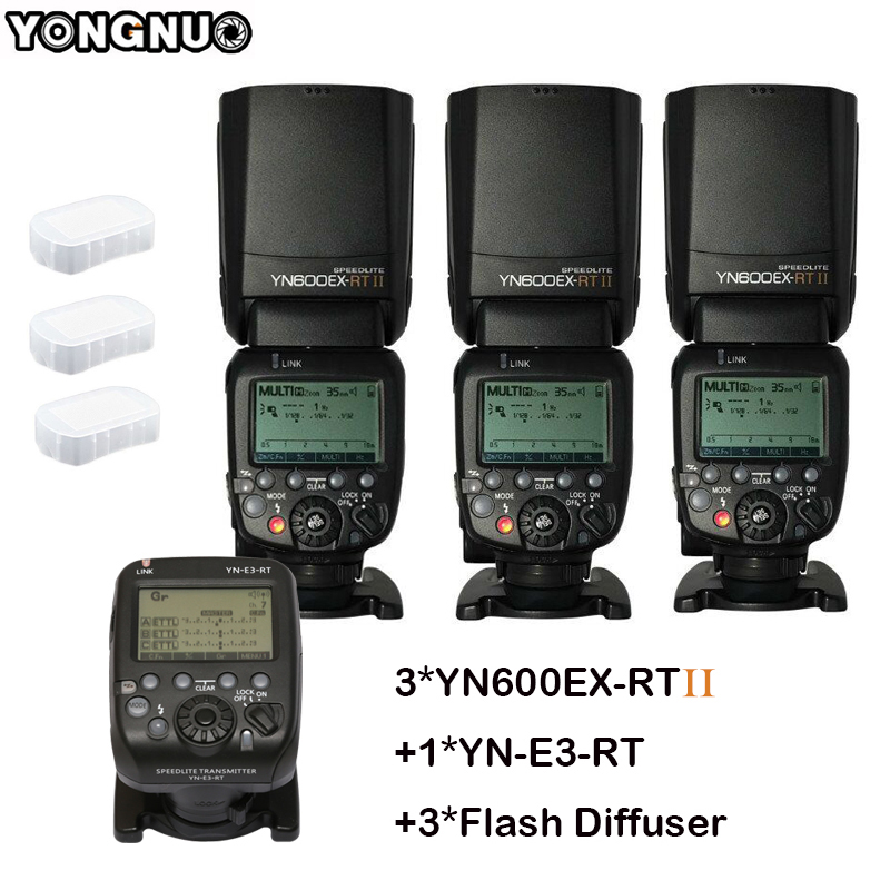 3 pcs YONGNUO Flash Speedlite YN600EX-RT II Automatique TTL HSS + Émetteur Contrôleur YN-E3-RT pour Canon 5D3 5D2 7D II 6D 70D 60D DHL