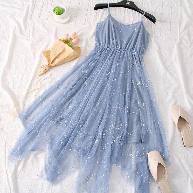 Sweet Bling Shinny Basic Mesh Dress 2019 Spring Summer New Korean Women's Dresses Elegant Irregular Dress for Women Female 1