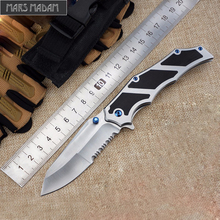 MARS MADAM Tactical Survival Pocket Knife Brush  partially serrated edge  Very Sharp Serrations Folding Knife