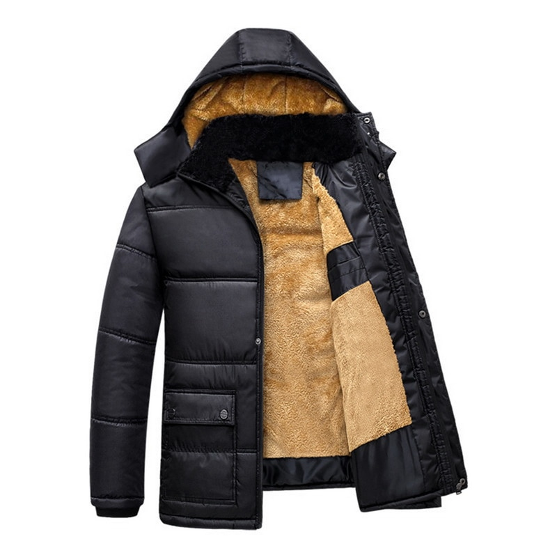 Men's Clothing Plus Size Mens Hooded Parkas Thick Cotton Coat Solid Color Casual Cotton Padded Down Jacket For Autumn Winter Warm Outerwear Goods Of Every Description Are Available Down Jackets