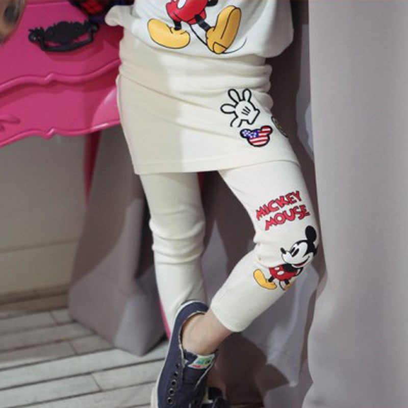2-10Y kinderen meisjes lente vallen Nep twee stuk broek Mickey katoenen zak hip rok broek meisjes leggings borduren Broek