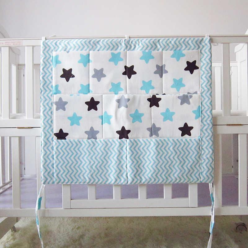 Grau Baumwolle Baby Bett Hängen Lagerung Tasche Neugeborenen Krippe Windel Veranstalter Spielzeug Windel Tasche für Baby Bettwäsche Set Kindergarten 50*60CM