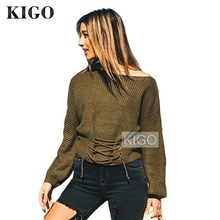 KIGO Autumn Women's Sweater Lace Up Sweater Long Sleeve Army Green Cashmere Sweater Knitted Pullovers Femme KH0447H
