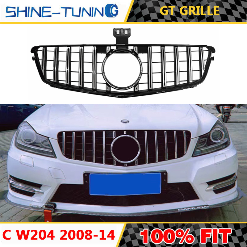 HOT SALE] W204 GT GTR Gloss Black Front Grill Grille for
