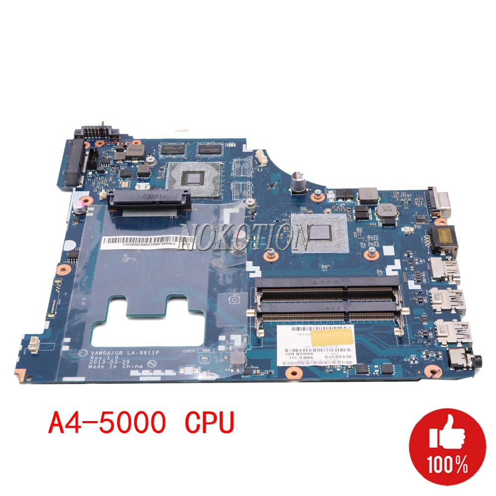 NOKOTION laptop mainboard for Lenovo G505 motherboard A4 5000 1.5GHz DDR3 Video card VAWGA/GB LA 9911P DDR3-in Motherboards from Computer & Office
