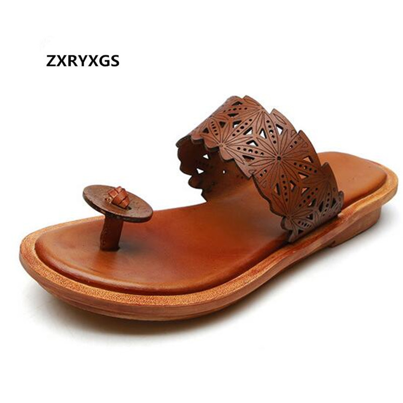 Most Trendy Flip Flops Flat Casual Sandals Women Summer Sandals 2019 New Summer Genuine Leather Slippers